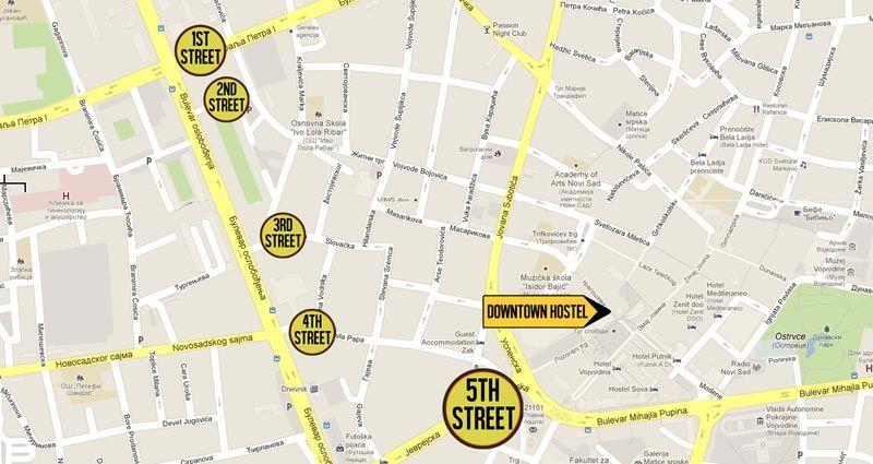 Downtown Hostel Novi Sad Accommodation Novi Sad - Novi sad map